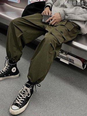 休閒褲工裝褲男冬潮牌港風國潮休閒秋冬季加厚抽繩韓版直筒寬鬆束腳