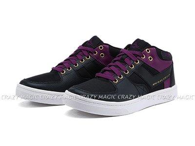 PONY ATOP 經典復古 休閒板鞋 PONY地標 皮革 中筒 黑紫 女款 # 83W1AT01BK