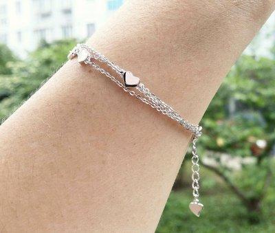 嗨,寶貝銀飾珠寶* 925純銀☆情人節禮物 時尚精品 細緻 氣質 心形 三條純銀項鍊 套鍊