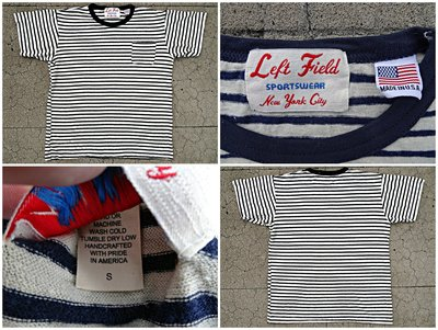 西方不敗美國製手工Left Field Hemp/Cotton Navy Stripe Pocket Tee 口袋短T