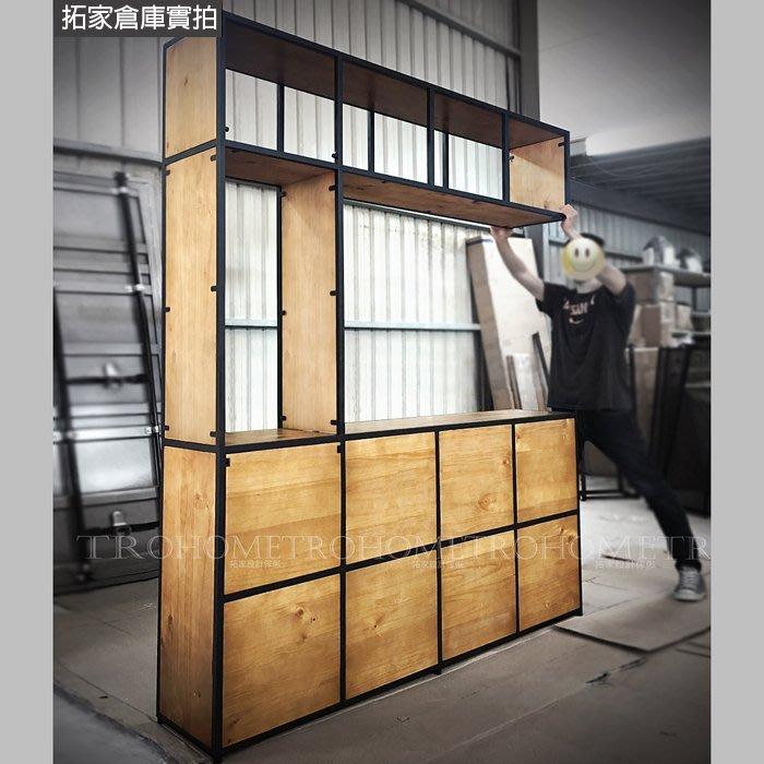 【拓家工業風家具】可訂製-多格實木中空壁櫃/美式復古置物櫃書櫃隔間屏風吧檯櫃/LOFT陳列櫃書架置物架餐櫃酒櫃電視櫃