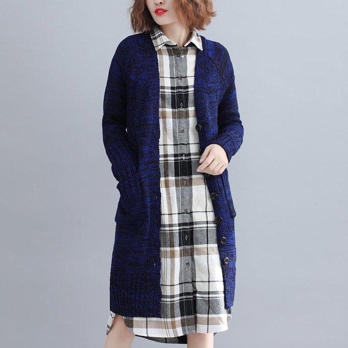 復古 連身裙 甜美 印花 長袖洋裝 胖MM文藝寬松針織長款開衫排扣毛衣女外套修身英倫