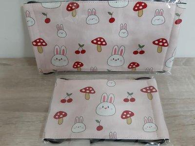 【小茉莉】手作幼童平面口罩/台灣棉布手作口罩→蘑菇小兔子-粉