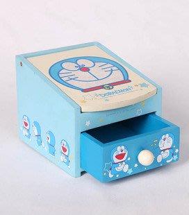 全新多啦a夢藍色置物盒化妝盒首飾盒有小抽屜