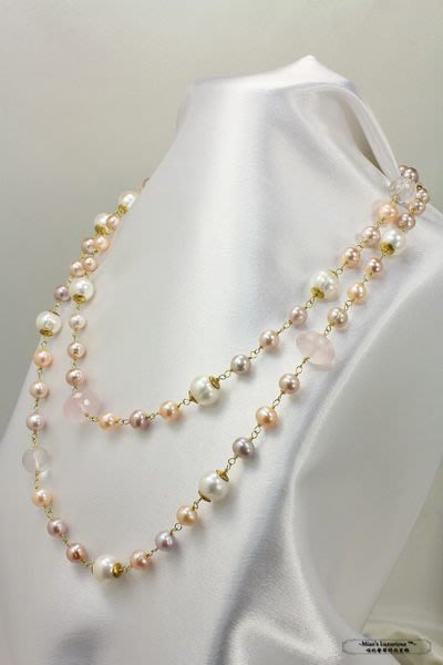夏季優惠--珍珠彩寶系列™--極美天然多顏色淡水珍珠+玫瑰粉晶多用途長/短項鍊
