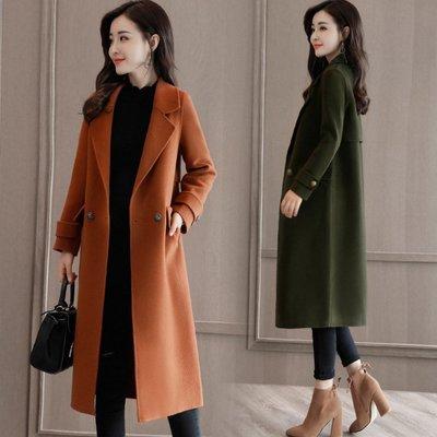2018秋冬新款韩版女装毛呢外套显瘦修身中长款长袖气质呢子大衣女