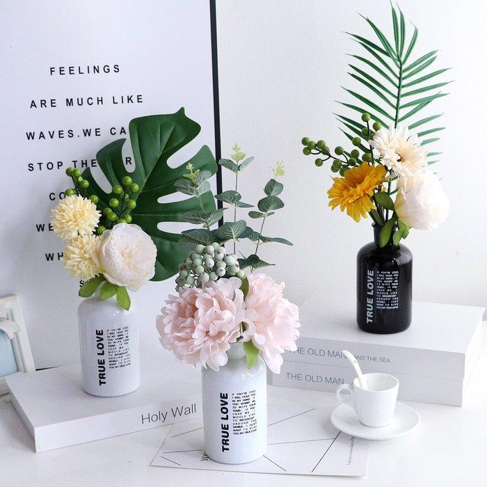 假花瓶 假花 仿真花 花器 花盆 玻璃 年花風北歐簡約黑白字母玻璃小迷你花瓶仿真客廳插花藝創意器餐桌
