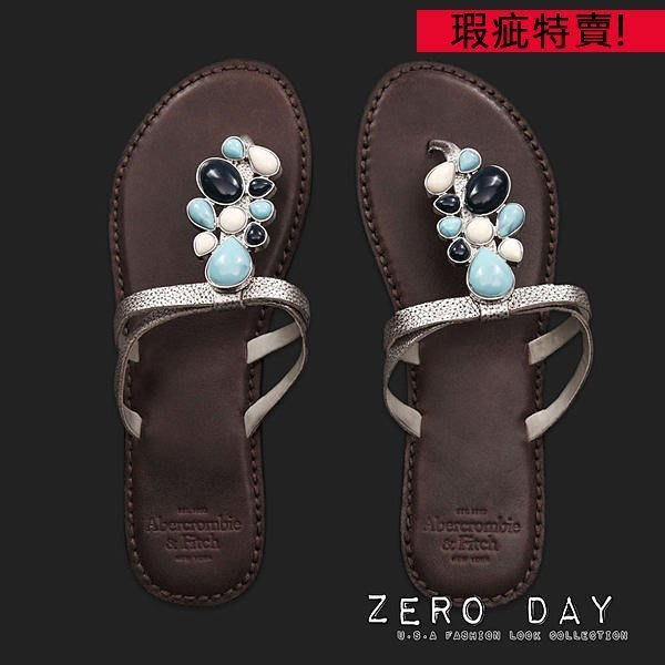 A&F Abercrombie&Fitch Heritage Leather Flip Flops波希米亞寶石真皮人字拖鞋