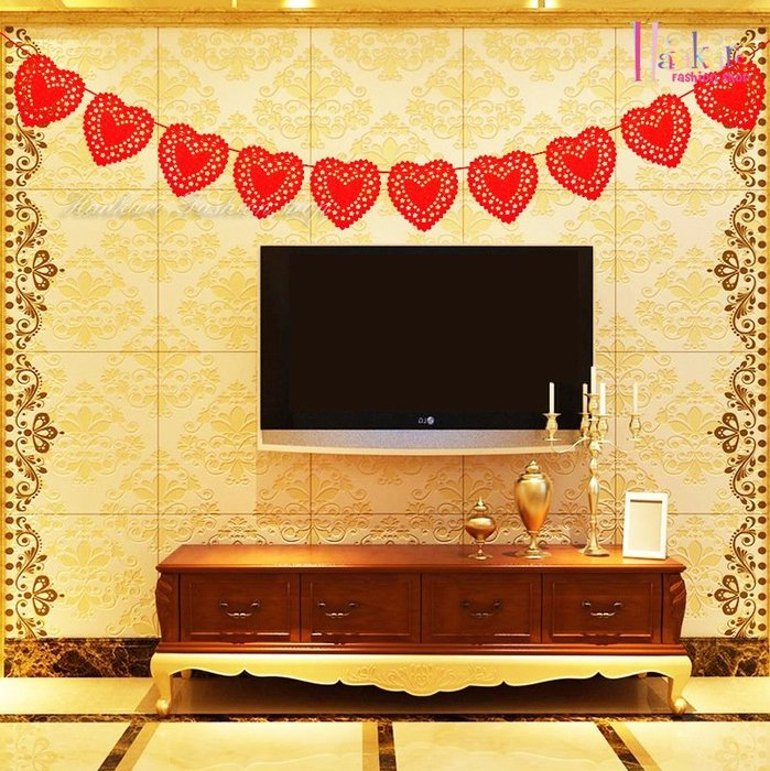 ☆[Hankaro]☆ 婚慶系列商品不織布大紅心型蕾絲雕花鏤空旗串掛飾