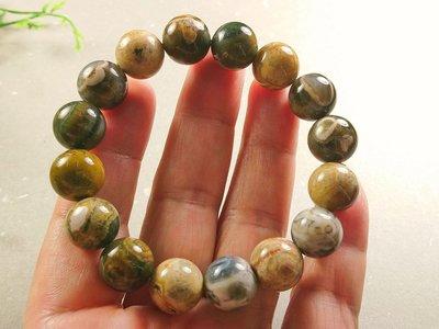 簡單Simple。現貨。10111號天然海洋碧玉手珠海洋圓珠手珠手串手鍊。13MM。