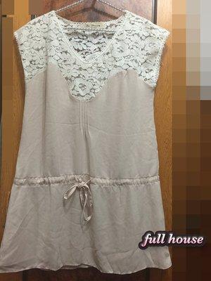 【FULL HOUSE 】正韓粉紅雙色雪紡蕾絲綁帶長版上衣 超夢幻