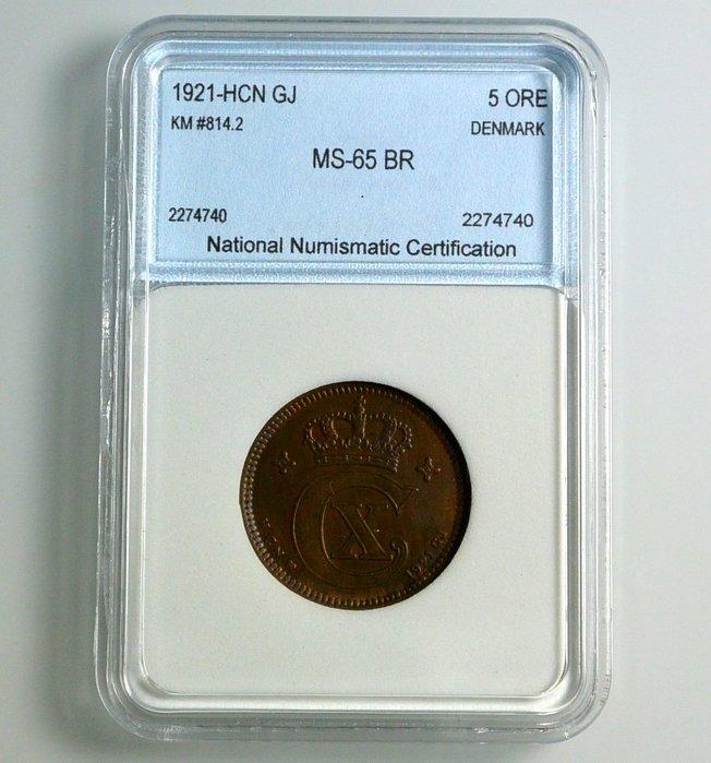 評級幣 丹麥 1921年HCN記 5 ORE 鑑定幣 NNC MS65BR