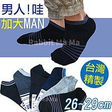 兔子媽媽/台灣製加大船型襪 5915 加大短襪/低口船襪/男性加大短襪/條紋款