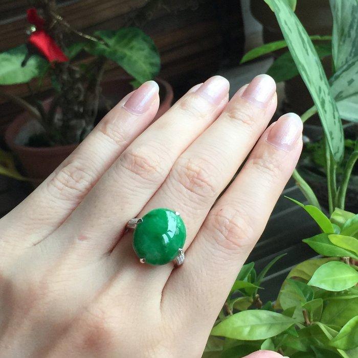 🌸翡麗寶盒🌸翡翠A貨超辣陽綠鴿子蛋18k戒指