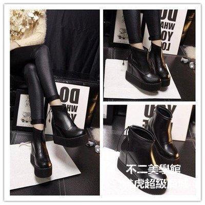 【格倫雅】^坡跟超高跟鞋內增高短靴秋冬防水臺厚底馬丁靴黑色女靴子48989[g-l-y44