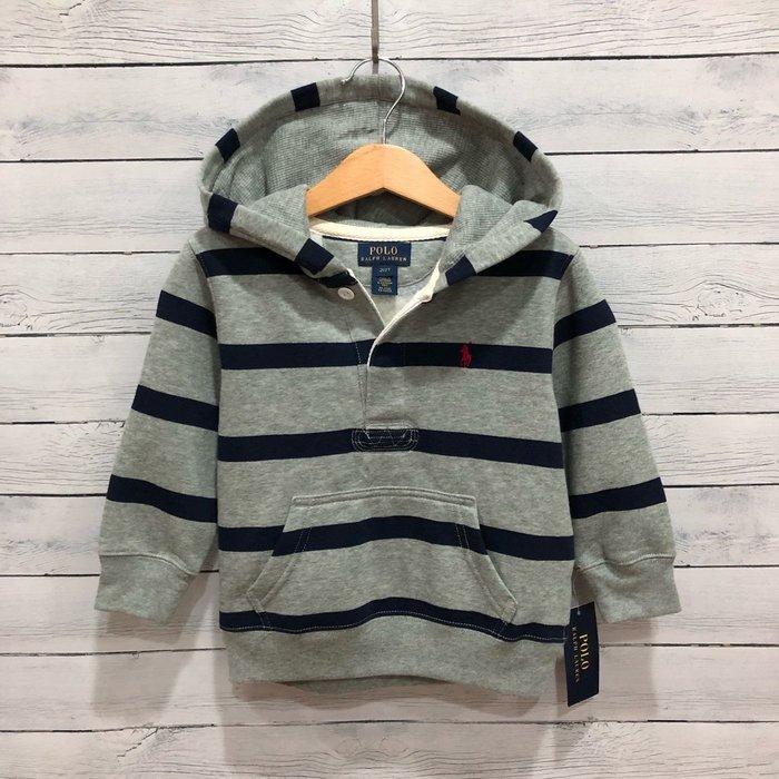 Maple麋鹿小舖 美國購買 童裝品牌POLO RALPH LAUREN 男童條紋連帽長T * ( 現貨2T )