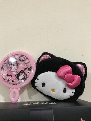 *凱西小舖*日本進口正版 KITTY 凱蒂貓 萬聖系列 絨毛收納隨身手拿鏡