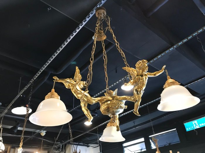 【卡卡頌 歐洲跳蚤市場/歐洲古董】※活動特價※法國老件_小天使 藝術吊燈 玻璃燈罩 個性吊燈 餐廳主燈l0289✬