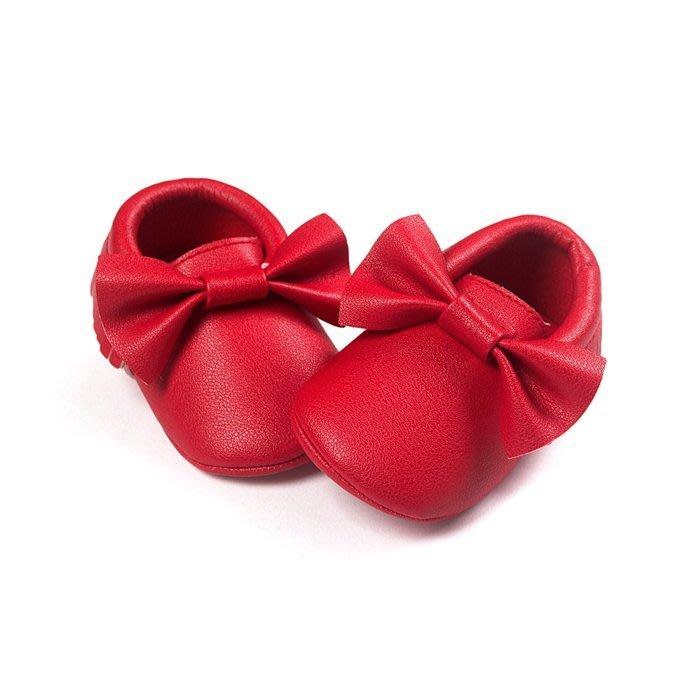 寶貝倉庫~歐美款~可愛紅蝴蝶結流蘇軟底鞋~學步鞋~不掉鞋~寶寶鞋~幼兒鞋~學走鞋~鬆緊帶設計~坐學步車穿~彌月送禮
