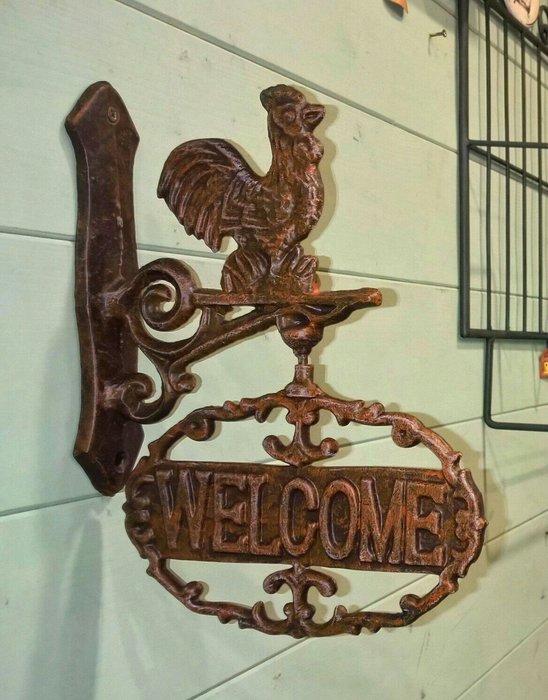 齊洛瓦鄉村風鐵製復古公雞WELCOME壁掛掛飾