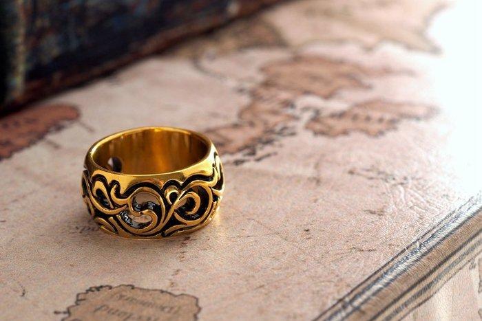 奧嘉精品工作室 純黃銅飾唐草流雲寬版個性圖騰戒指 刺青雕花 和風