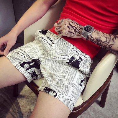 DS_08網紅時尚小個子潮男夏季26號27碼五分褲男正韓學生修身三分褲小碼短褲印花