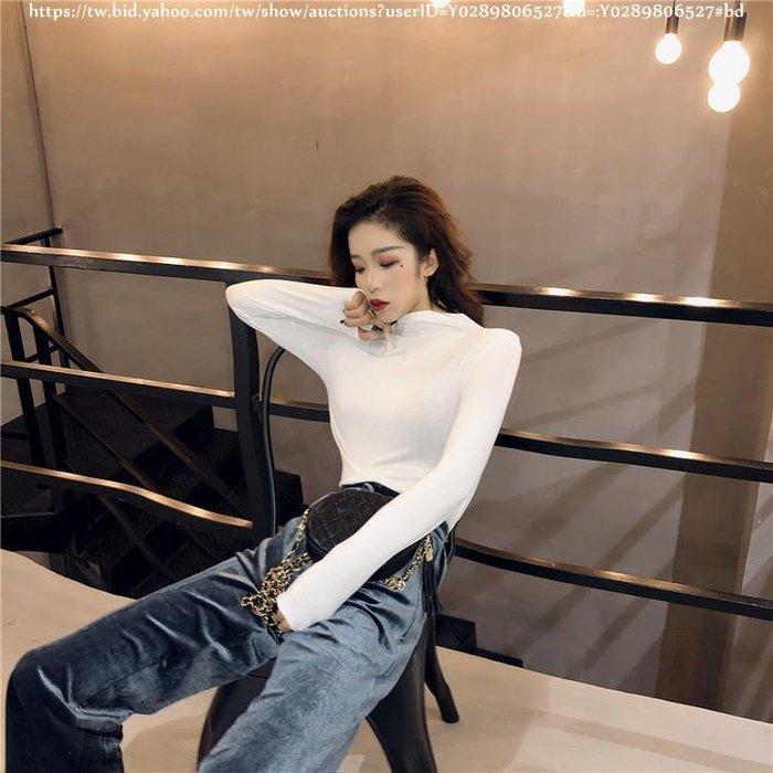 Biglove chic早秋上衣慵懶新款半高領七色貼身顯瘦純色韓版百搭打底衫T恤