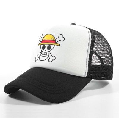 動漫海賊王路飛草帽 cosplay帽子夏天網帽款印刷骷髏頭