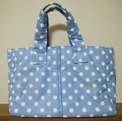 Agnes b.舖 已降 實品 全新 專櫃 vovarova水藍 白色 圓點 淺藍 空氣包 媽媽包 肩背包 側背包 a4可 容量大 大方包 天空藍 水藍 拖特包