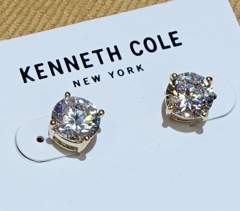 全新美國名牌 Kenneth Cole 水晶設計款單顆黃金色金屬座穿式耳環,低價起標無底價!本商品免運費!