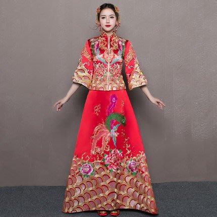 【曼妮婚紗禮服】3件免郵~新娘旗袍禮服龍鳳掛 中長袖中式結婚禮服BR009