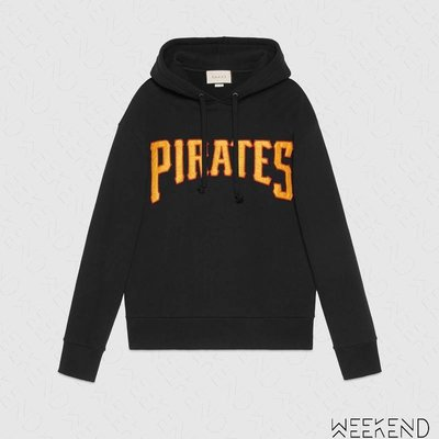 【WEEKEND】 GUCCI Pittsburgh Pirates™ 連帽 衛衣 帽T 長袖 上衣 黑色 475374