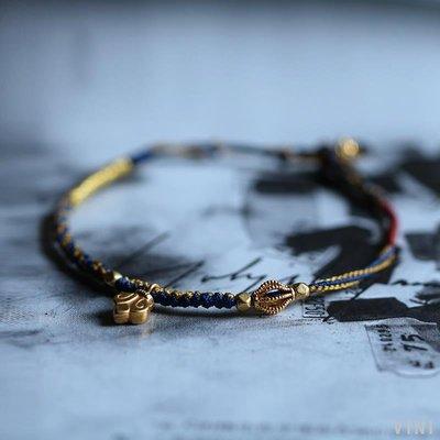VINI 五行轉運系列-煙云 八月里珠寶原創18k金珠編藝紅繩手鏈 福在眼前