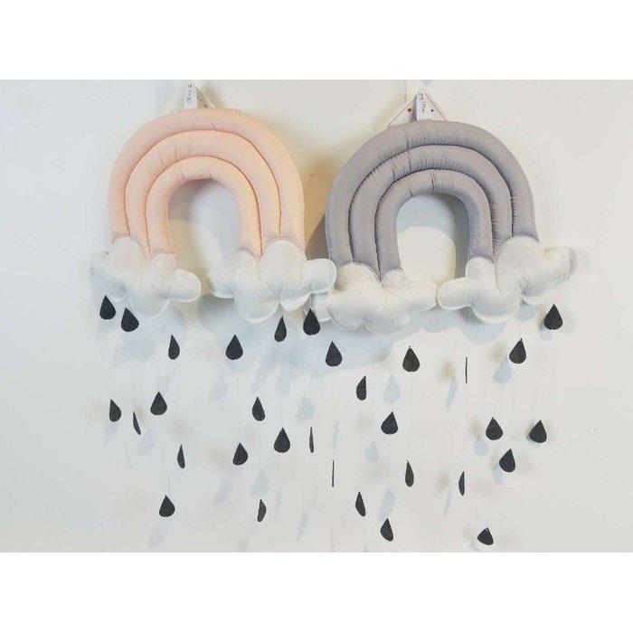 立體雲朵雨滴布藝床頭挂件場景佈置道具兒童帳篷配件家居裝飾創意
