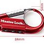 Master Lock 背包密碼鎖 戶外登山鉤鎖 行李箱包密碼鎖 鑰匙扣 (紅色)