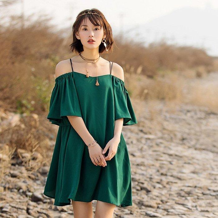 洋裝 一字領連身裙-韓版時尚純色寬鬆女連衣裙73ha20[獨家進口][米蘭精品]