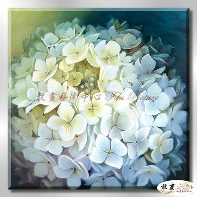 【放畫藝術】裝飾花卉C234 純手繪 油畫 方形 灰藍 中性色系 掛畫 招財 風水 裝修 無框畫 玄關 室內設計