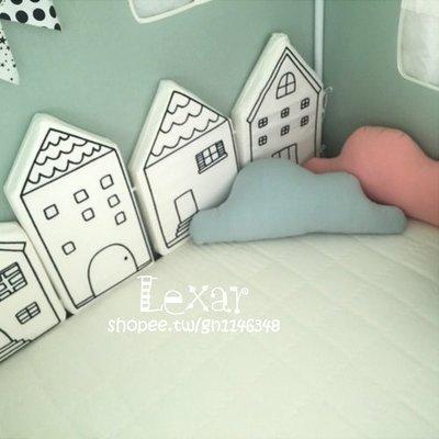 北歐可愛小房子嬰幼兒童房床圍軟包防撞頭保護安全靠墊牆壁裝飾