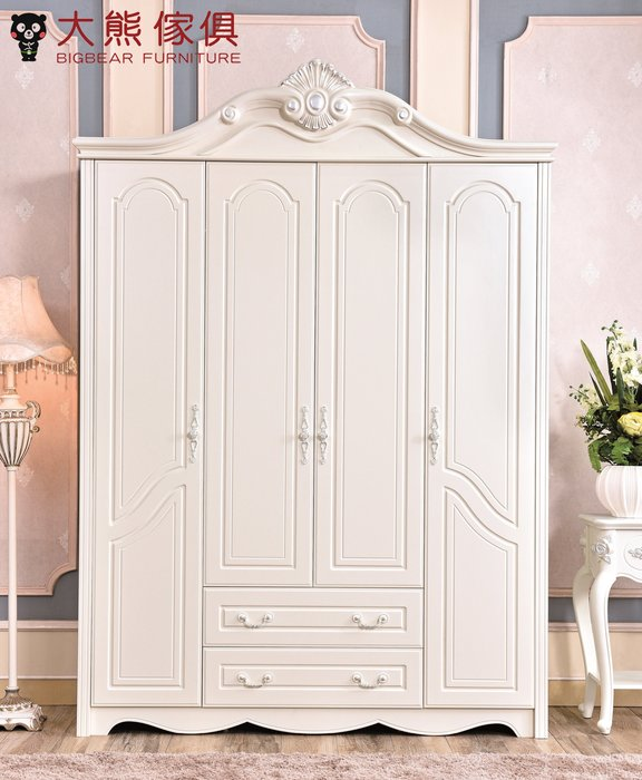 【大熊傢俱】 PD006-1.75  歐式 衣櫃 四門 衣櫥 拉門 櫥櫃 法式 衣服櫃 另售 歐式床 床頭櫃 化妝台