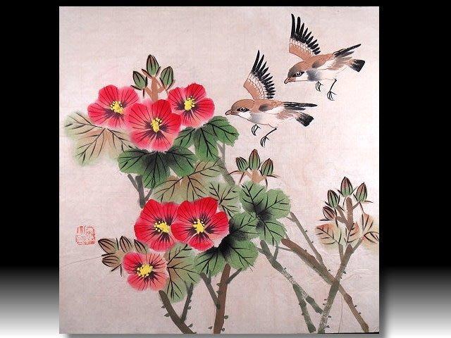 【 金王記拍寶網 】S921  名家款 水墨花鳥圖  手繪書畫一張  罕見 稀少~