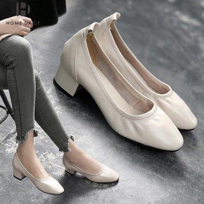 Venaessa韓國現貨女鞋真皮單鞋女2020春季新款百搭方頭高跟鞋女仙女風復古奶奶鞋女粗跟