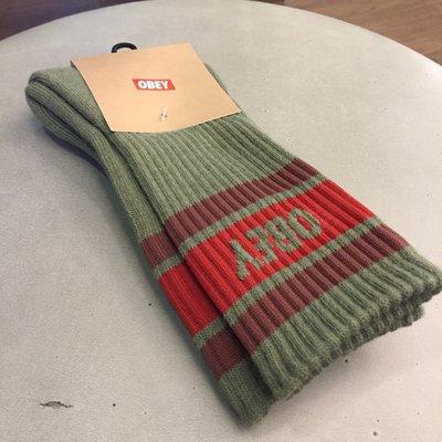 BEETLE 美國品牌 OBEY COOPER SOCKS LOGO OLD SCHOOL 墨綠 紅 經典款 中長筒襪