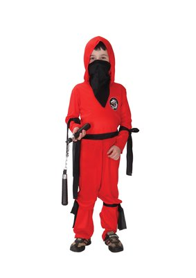 歡樂賣 /萬聖節服裝,萬聖節裝扮,,兒童變裝服-忍者服裝-紅忍者