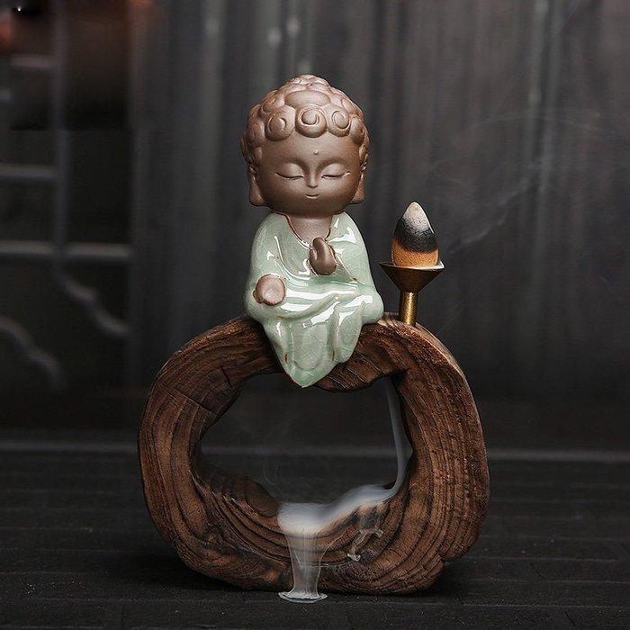 茶寵擺件創意小和尚紫砂倒流香爐茶具配件家居辦公藝術擺件