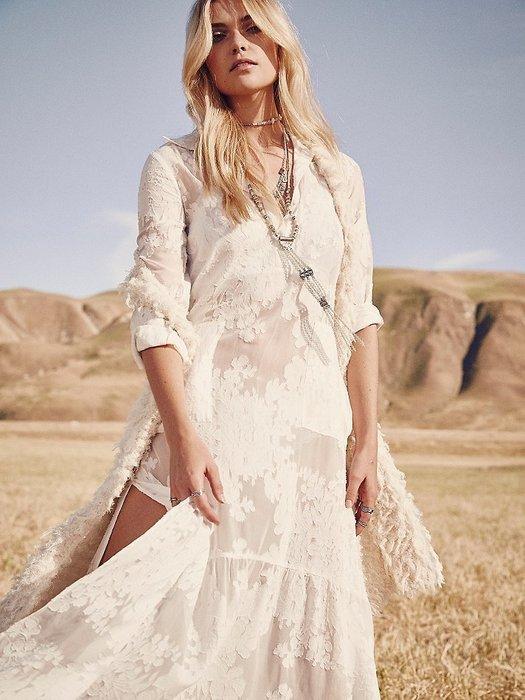 Breeze 波希米亞 歐美FP女神 海邊渡假長裙雪紡沙灘防曬連衣裙蕾絲長罩衫AG30