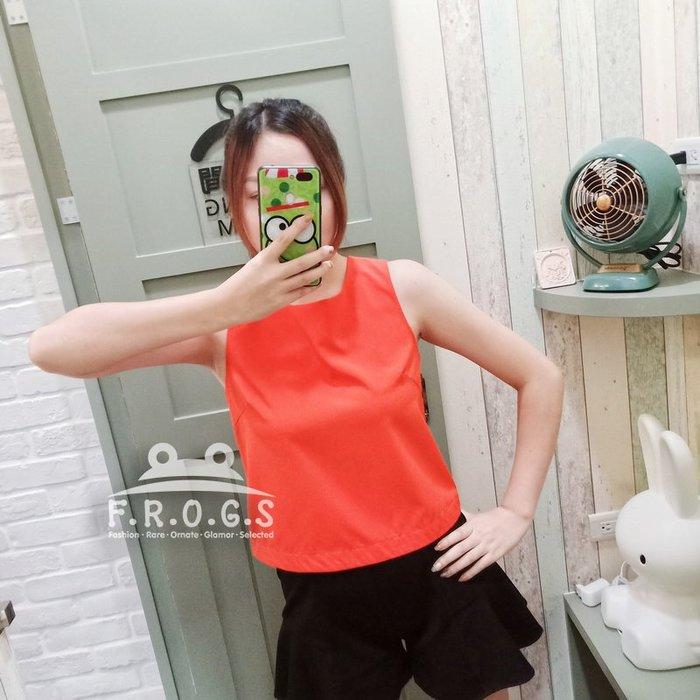 F.R.O.G.S T00064(二手)短版簡約歐美風橘紅無袖造型罩衫上衣休閒衣雪紡衣-現貨特價