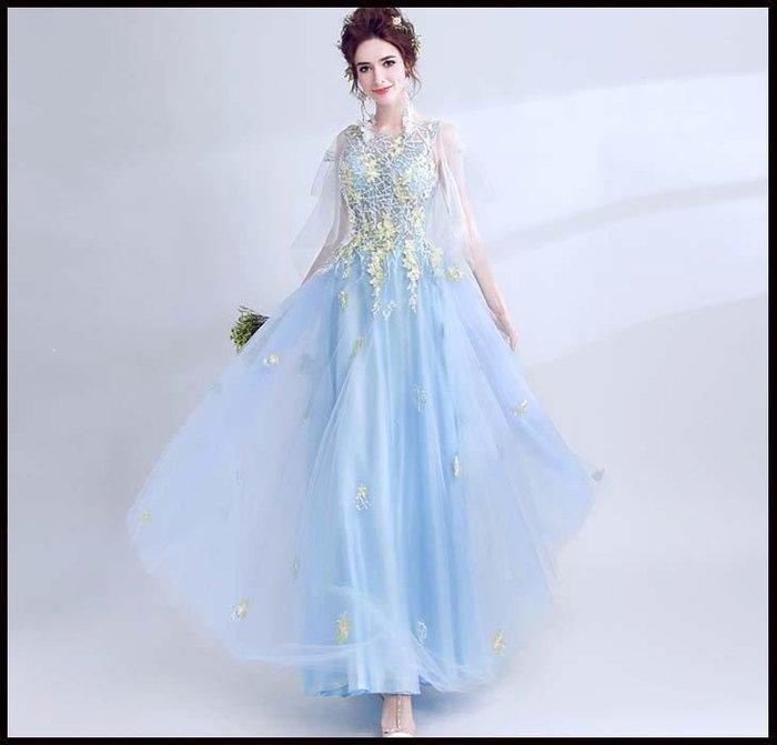 哆啦本鋪 天使嫁衣 仙仙水藍色長披紗袖晚宴年會演出婚紗禮服伴娘服D655