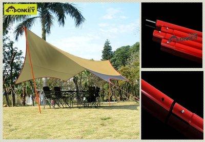 【Monkey CAMP】天幕桿 營柱 一體成形鐵製套節式180/240cm 管徑25mm 耐用好用 露營帳篷天幕撐桿