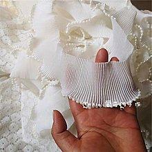 『ღIAsa 愛莎ღ手作雜貨』復古串珠邊黑色白色皺褶服裝禮服花邊輔料寬6cm(拉直測量)
