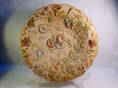 { Ruminant 慕名古物 } 德國Meissen古老鑄模厚重浮雕喇叭花卉胚盤